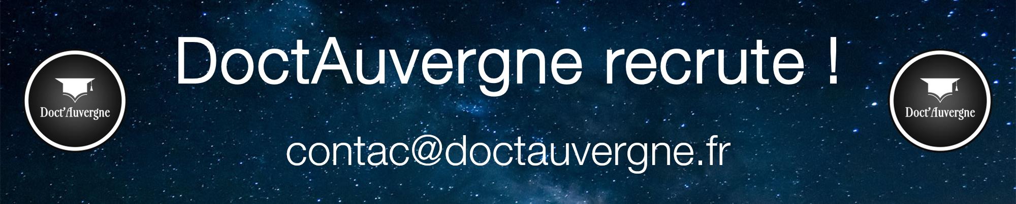 Doct'Auvergne recrute ! contact@doctauvergne.fr
